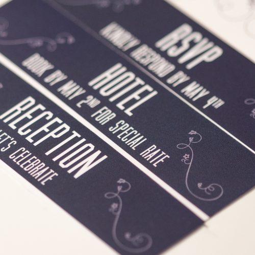 Hand cut and assembled wedding invitations.