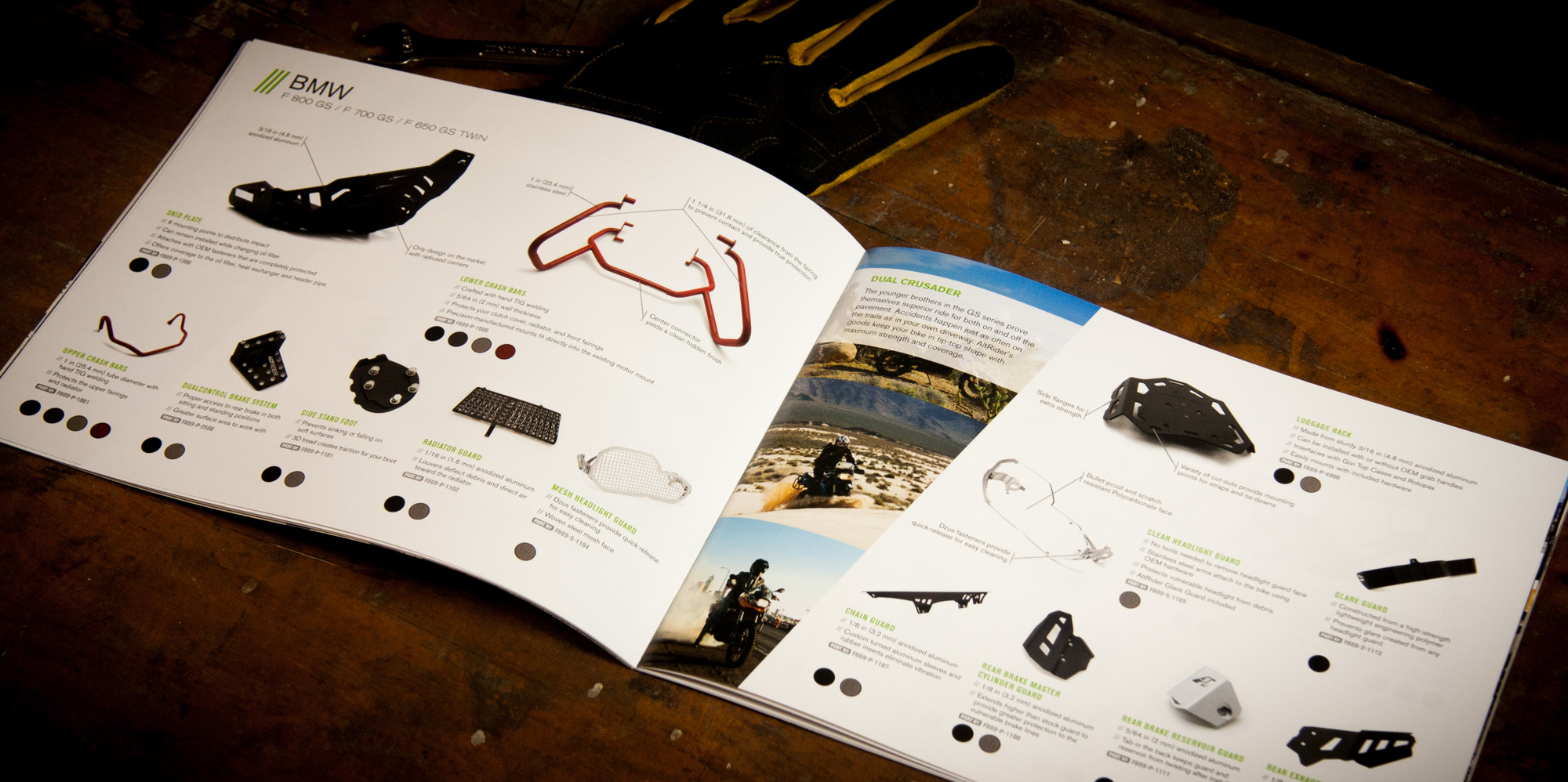 Spread containing products for the BMW F 800 GS / F 700 GS / F 650 GS Twin in the AltRider catalog.