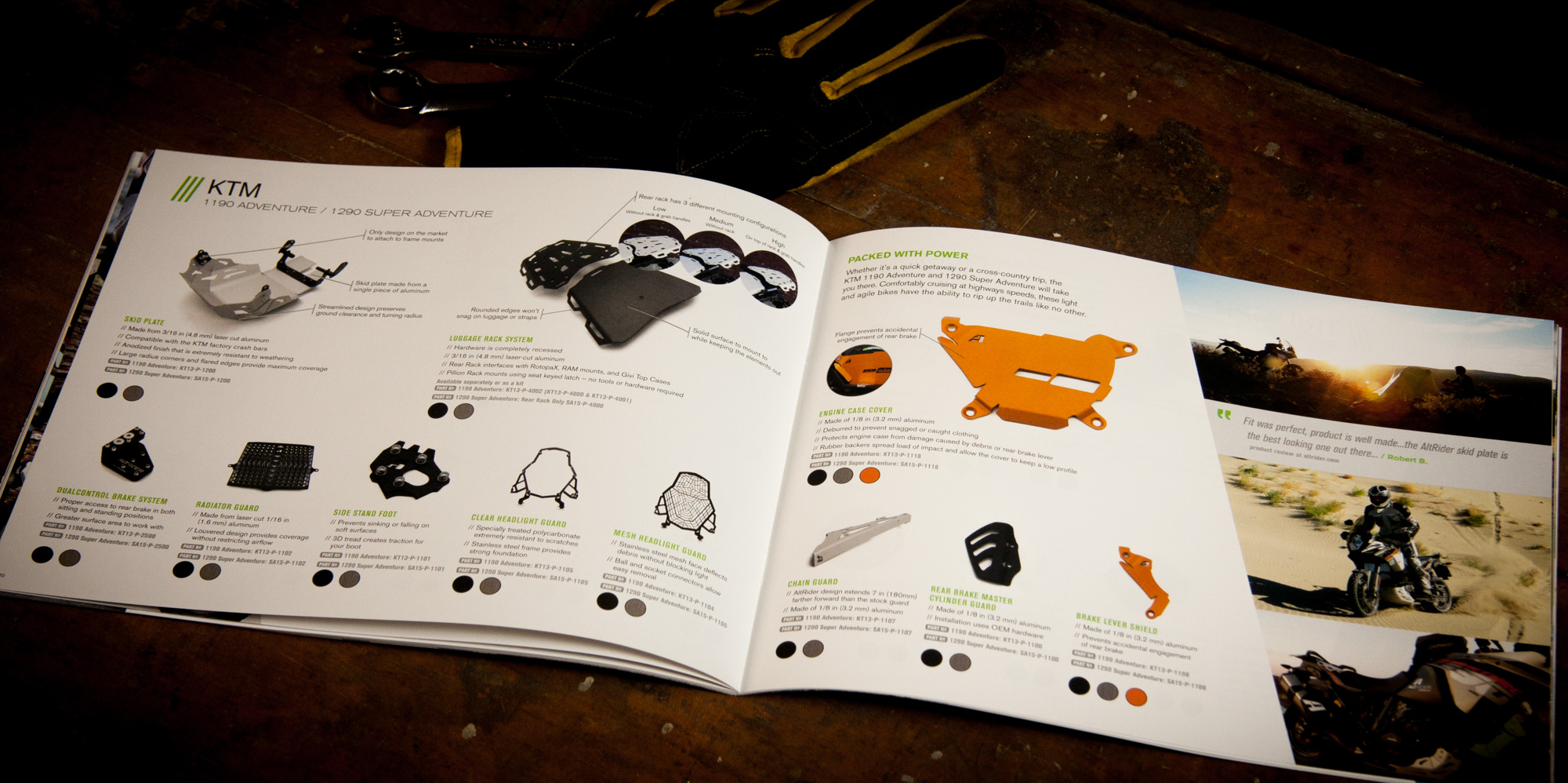 Spread containing products for the KTM 1190 Adventure / 1290 Super Adventure in the AltRider catalog.